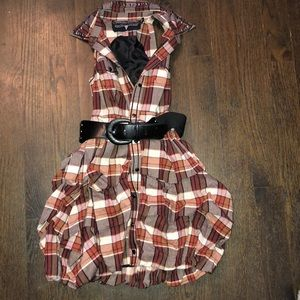 Plaid dress with belt